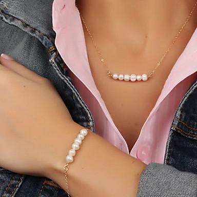 Pentru femei Perle Seturi de bijuterii Plutire Plin de graţie femei European Modă Delicat Perle Imitație de Perle cercei Bijuterii Auriu Pentru Petrecere Ocazie specială Aniversare Zi de Naștere