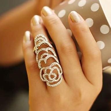 Kadın's Bildiri Yüzüğü - Kristal, Yapay Elmas Güller, Çiçek Eşsiz Tasarım, Avrupa, Moda 7 / 8 Gümüş / Altın Uyumluluk Düğün Parti Günlük
