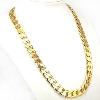 cheap Chain Necklaces-Men's Chain Necklace Cuban Link Twisted Baht Chain Personalized Classic Fashion Street chic Gold Plated Yellow Gold Gold Necklace Jewelry 1pc For Daily Casual Sports Valentine