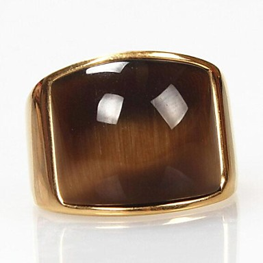 Erkek Bildiri Yüzüğü - Titanyum Çelik, Opal Vintage, Moda 7 / 8 / 9 / 10 / 11 Altın Uyumluluk Yılbaşı Hediyeleri Günlük