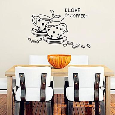 kahve fincanı, modern sevimli plastik duvar çıkartmaları şeklinde (siyah renkli x1pcs)