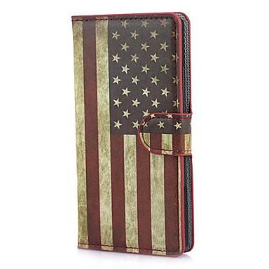 Huawei Ascend P7 Standı ve Kart Yuvası ile Retro USA Amerikan Bayrağı Deri Cüzdan Kılıf