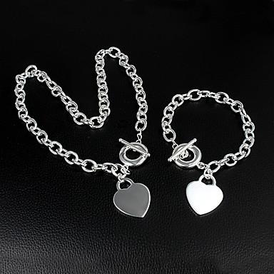 Kadın's Zincir & Halka Bileklikler Zincir Kolyeler Klasik Temel Aşk Düğün Parti Günlük Gümüş Kaplama Kalp