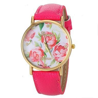 Women's Wrist Watch Quartz PU Band Analog Flower Fashion Black / White / Blue - Black Rose Blue Two Years Battery Life / Maxell626+2025