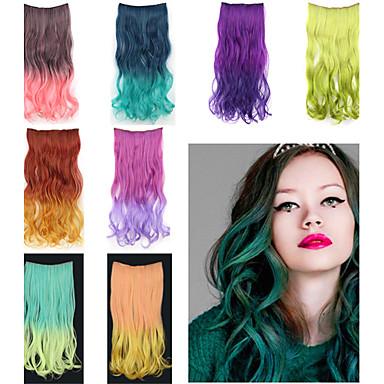 8 renk mevcut - 5 klipler ile saç uzatma 20 inç uzun dalgalı sentetik klip
