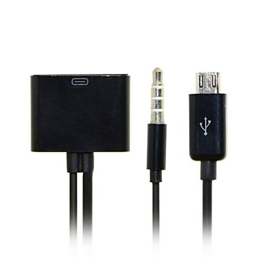 30pin Female to Micro USB 5pin Male Data Charge with Audio Cable