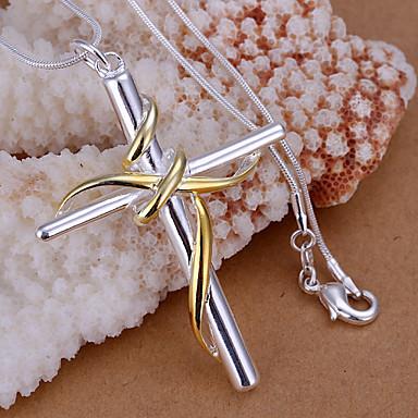 Hangers Strass Cross Shape zilver 1