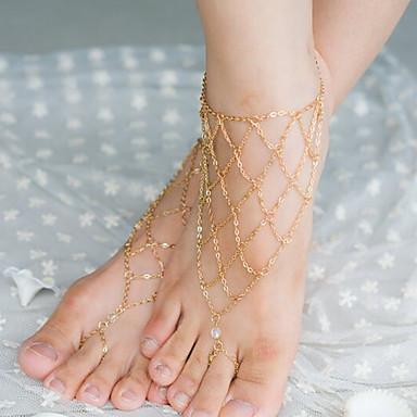 ieftine Bijuterii de Corp-Pentru femei Cristal Brățară Gleznă Sandale Desculț Franjuri femei Ciucure Cristal Brățară Gleznă Bijuterii Argintiu / Bronz / Auriu Pentru Zilnic Casual