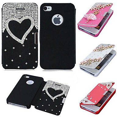 design de luxo casebox® com diamante pu leatheer caso de corpo inteiro para iphone 4 / 4s (cores sortidas)