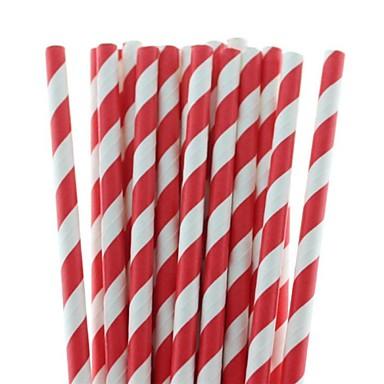 1pc Kağıt Çizgili Parti Pipetleri ve Süsleri
