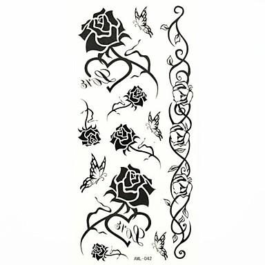 wasserdichte schwarze Rose temporäre Tätowierung Aufklebertätowierungen Probenform für Körperkunst (18.5cm * 8.5cm)