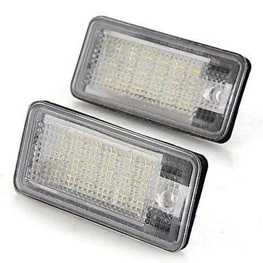 Beyaz bir çift araba plaka lambaları ampuller 18 smd audi a3 a4 8e rs4 a6 RS6 için ışıkları 12v led