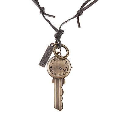 панк (часы ключ + кольцо + тег) черный кожаный кулон ожерелье для мужчин (1 шт)