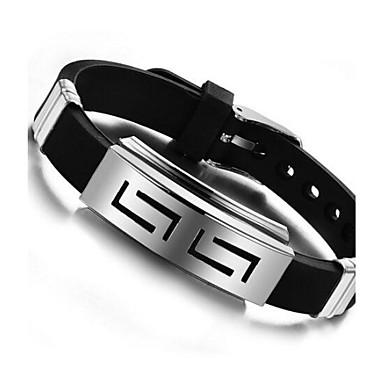 abordables Bijoux pour Homme-Bracelet ID Homme Silicone Acier au titane Personnalisé unique Bracelet Bijoux Noir pour Quotidien Décontracté