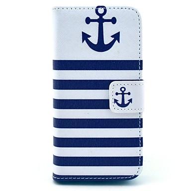 coco fun® marineblauw anker patroon pu lederen full body case met screen protector voor iPhone 5c