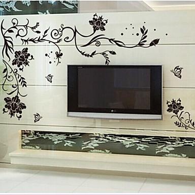 doudouwo® adesivos de parede adesivos de parede, florais as flores nobres e belas pvc adesivos de parede