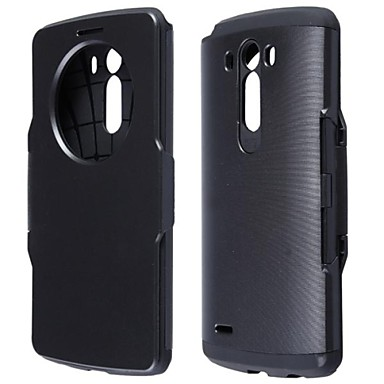 Pentru Carcasă LG cu Fereastră / Auto Sleep / Wake / Întoarce Maska Corp Plin Maska Culoare solida Greu PU piele LG LG G3