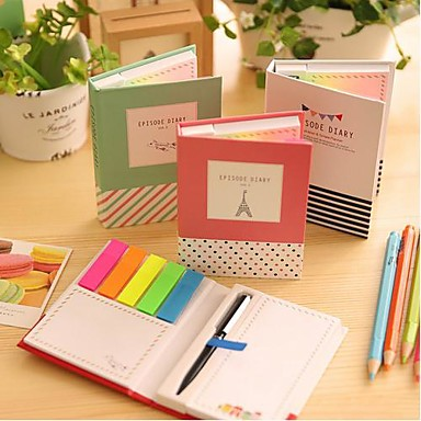 verschillende vorm zelfklevende notes set met balpen (willekeurige kleur)