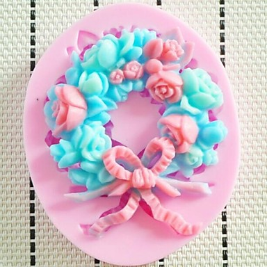 Garland Flower Fondant Cake Chocolate Resin Clay Candy Silicone Mold, L8.3cm*W6.8cm*H1cm