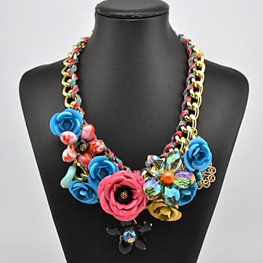 Women's Crystal Gem Flower Pattern Necklace