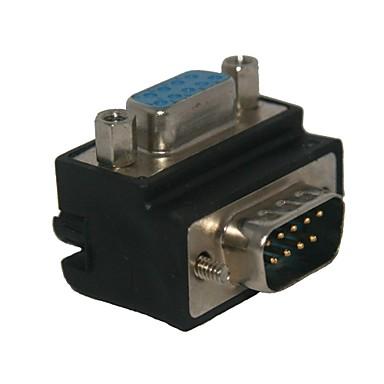 Erkek 9pin konnektör adaptörü standart dik açı 90 derece db9p kadın