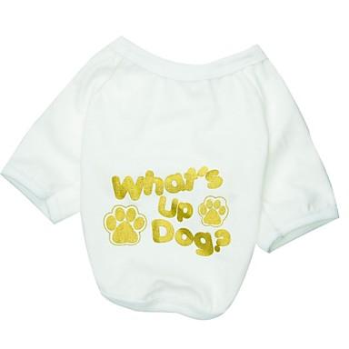Pisici Câine Tricou Îmbrăcăminte Câini Literă & Număr Alb Bumbac Costume Pentru Primăvara & toamnă