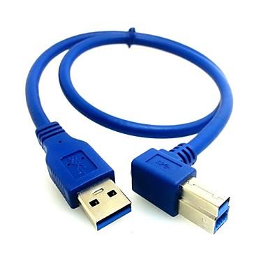 0.5m 1.64ft USB 3.0 un bărbat la unghi de 90 ° stânga b masculin AM / BM transport gratuit prin cablu de imprimantă de mare viteză