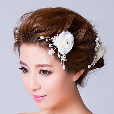 Imitație de Perle Material Textil Diadema-Nuntă Ocazie specială Flori Ac de Păr