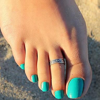 vintage esculpida anel folhagem pé das mulheres