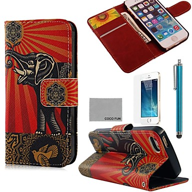 COCO FUN® Flower Elephant Pattern PU Leather Full Body Case with Film, Stand and Stylus for iPhone 5/5S