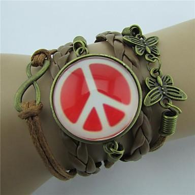 handmaded Schmetterlingsmehrfachschichten Friedenssymbol-Lederverpackungsarmbänder