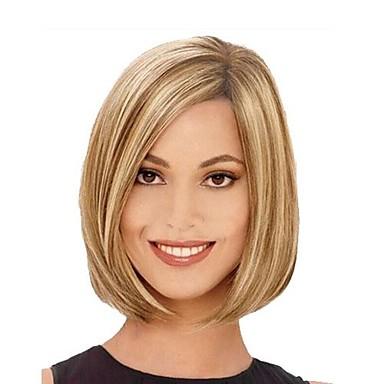 Synthetische Perücken Glatt Blond Bubikopf Synthetische Haare Strähnchen / Balayage-Technik / Seitenteil Blond Perücke Damen Kappenlos Braun mit Blond