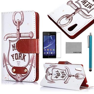 Coco fun® padrão retro âncora estojo de couro pu com protetor de tela e caneta para Sony Xperia t3 d5102 d5103