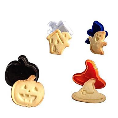4 stuks set 3d halloween cake cookie cutter zuiger fondant schimmel sugarcraft modeling tools