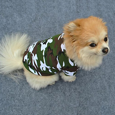 cheap Dog Clothing & Accessories-Dog Shirt / T-Shirt Dog Clothes Camo / Camouflage Green Cotton Costume For Spring &  Fall Summer Men's Women's Fashion