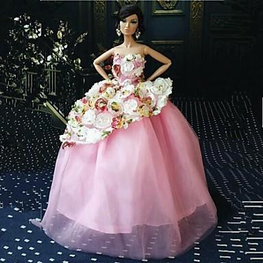 Festa/Noite Vestidos Para Boneca Barbie Renda Organza Vestido Para Menina de Boneca de Brinquedo