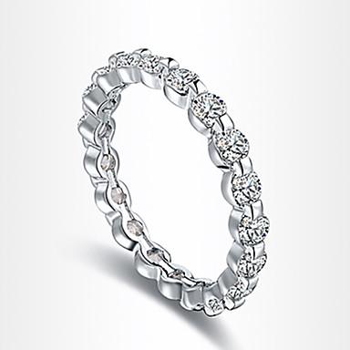 Γυναικεία Δακτύλιος Δήλωσης Ασημί Ζιρκονίτης Cubic Zirconia Επάργυρο Προσομειωμένο διαμάντι Πολυτέλεια Love Καρδιά Ευρωπαϊκό Πάρτι