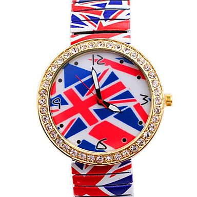 Persönlichkeit einfache british flaghot sell Metallfederbandarmbanduhr der Frauen