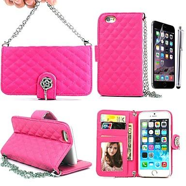lange keten handtas roze lederen full body case met kaartslot portemonnee en staan voor de huid 4.7 iphone 6 (verschillende kleuren)