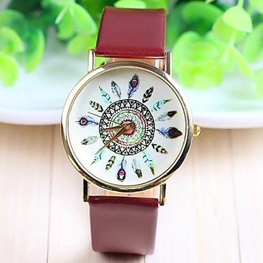 Dames Modieus horloge Kwarts Hot Sale PU Band Bloem Informeel Zwart Wit Bruin