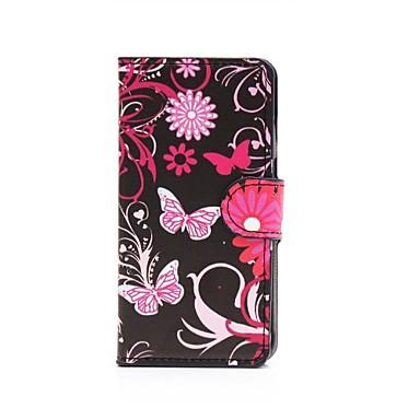 Pentru Samsung Galaxy Carcasă Portofel / Titluar Card / Cu Stand / Întoarce / Model Maska Corp Plin Maska Fluture PU piele Samsung Alpha