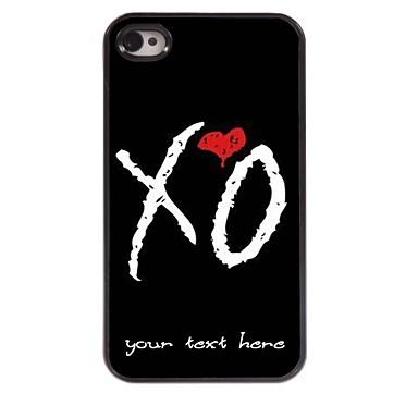 caso de telefone personalizado - caso design de metal xo para iPhone 4 / 4S