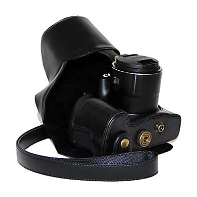 dengpin® pu estojo protetor câmera pele óleo de couro retro com porta de carregamento para Canon PowerShot SX60 HS