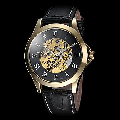FORSINING Masculino relógio mecânico Relógio de Pulso Automático - da corda automáticamente Gravação Oca Couro Banda Luxuoso Preta Marrom