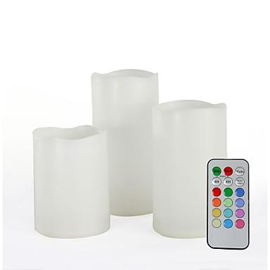 conjunto de 3 com controle remoto multi-color plástico levou velas (mudança de cor velas sem chama)