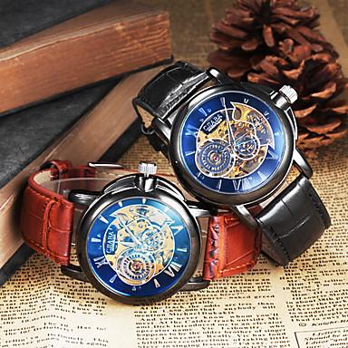 Ανδρικά μηχανικό ρολόι Ρολόι Καρπού Αυτόματο κούρδισμα Εσωτερικού Μηχανισμού Δέρμα Μπάντα Μαύρο Καφέ