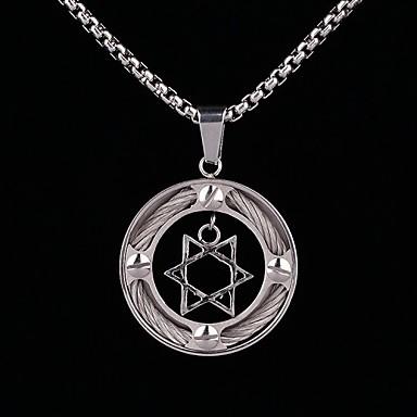 z&X® do punk hexagrama do vintage colar dos homens pingente de aço de titânio (ouro, prata)