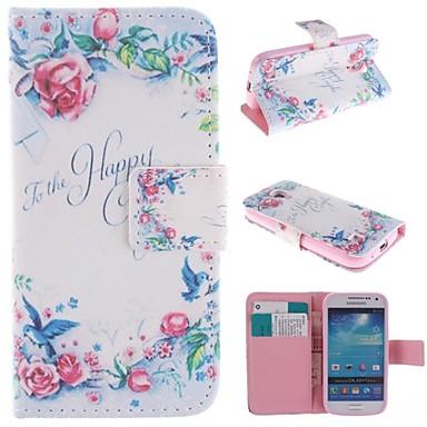 Για Samsung Galaxy Θήκη Θήκη καρτών / με βάση στήριξης / Ανοιγόμενη / Με σχέδια tok Πλήρης κάλυψη tok Λουλούδι Συνθετικό δέρμα SamsungS4
