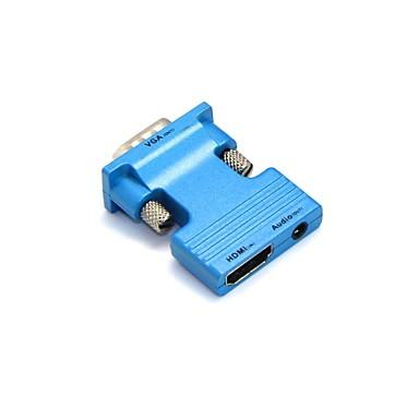 lwm® feminino HDMI para VGA masculino e 3,5 milímetros saída de áudio adaptador para pc lcd