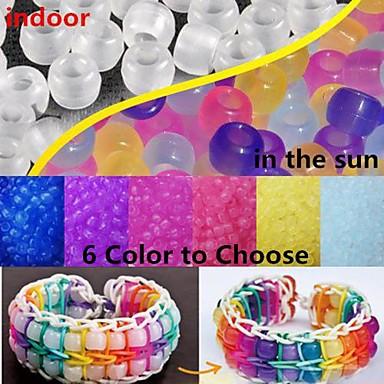 χάντρες αλλαγή 6x8mm πόνυ 100pcs χρώμα UV για ουράνιο τόξο αργαλειό λαστιχάκια diy βραχιόλι